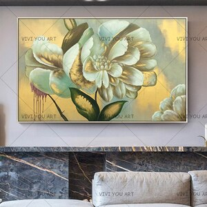 Canvas Painting Modular Home Decor Wall Art Golden Yellow Flowers Paintings Gold Orchid Picture Modern Handmade Oil Painting