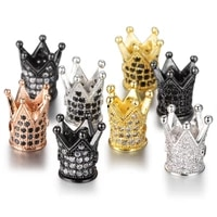 5pcslot charms metal natural stone crystal cz zircon crown diy beads men bracelet beadwork accessories for jewelry making c69