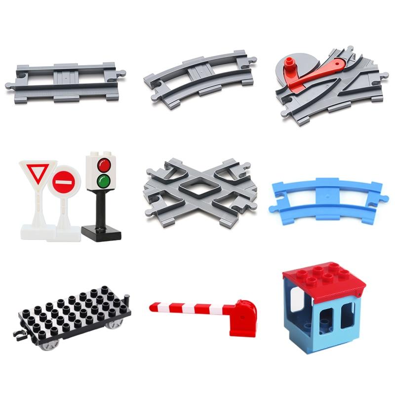 Vehicle Track Sets Bricks Railway Big Rail Building Blocks Trailer Track Accessory Car Gift DIY Child Toys Compatible With Duplo