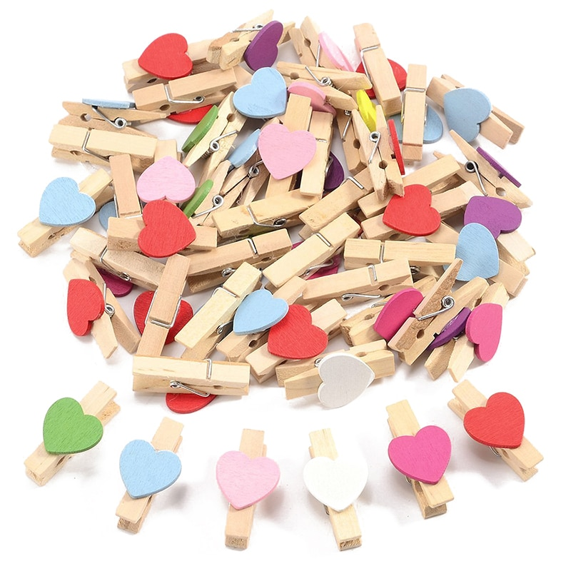 100 Мини Деревянные Любовь Сердце колышки фото бумажный зажим свадебный Декор
