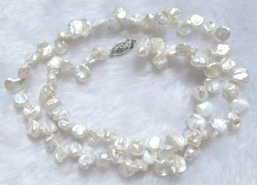 Señorita encanto collar blanco perla de agua dulce 8mm biwa perlas keishi Jew.623 (A0325)