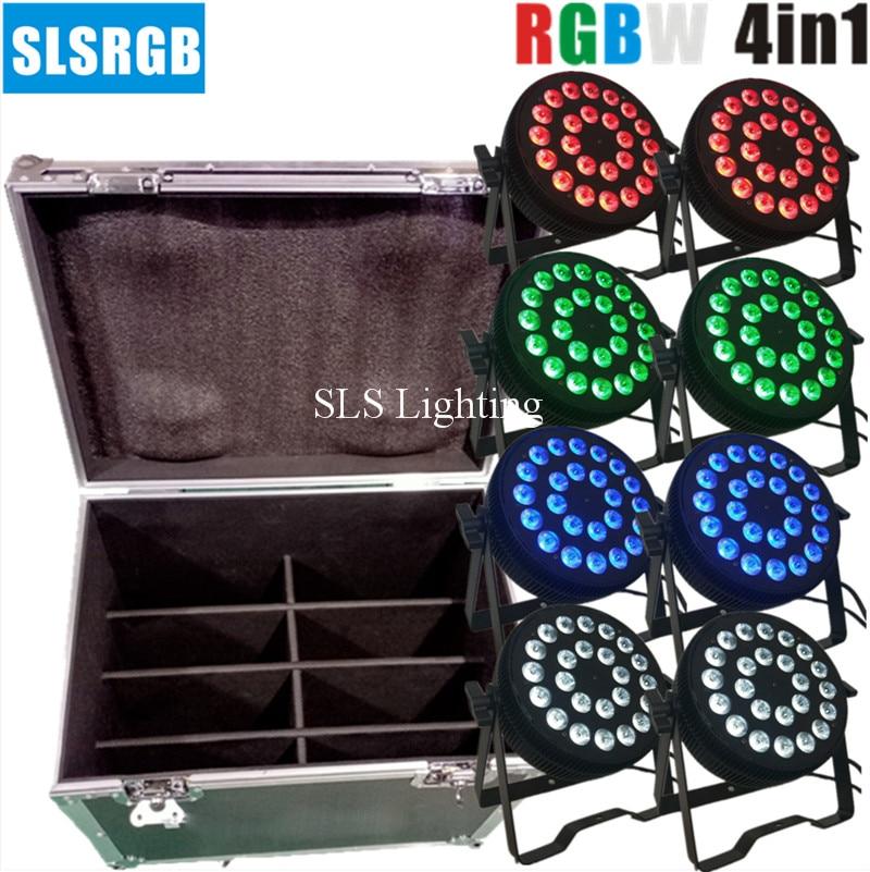 8 unids/lote y caja de vuelo Nueva caja delgada de aluminio dmx512 led luz par rgbw LED mercado dj luz 24x12w par de luz rgbw 4 en 1 par para dj