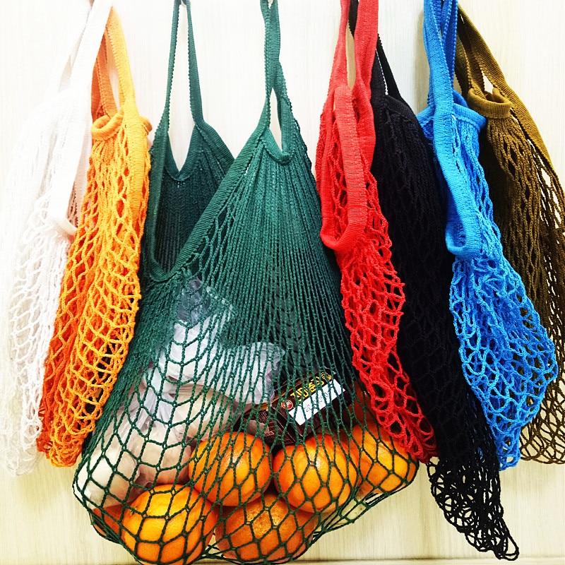 New Mesh Bag String Shopping Bag Reusable Fruit Storage Handbag Totes Women Shopping Net Bag Shopper Bag Cotton Woven