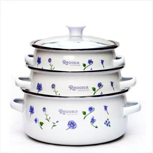 Envío Gratis, juego de ollas esmaltadas de 3 mini cazuelas con cubierta de vidrio, olla para estofado, sopa, jarra de leche 16/18/20cm