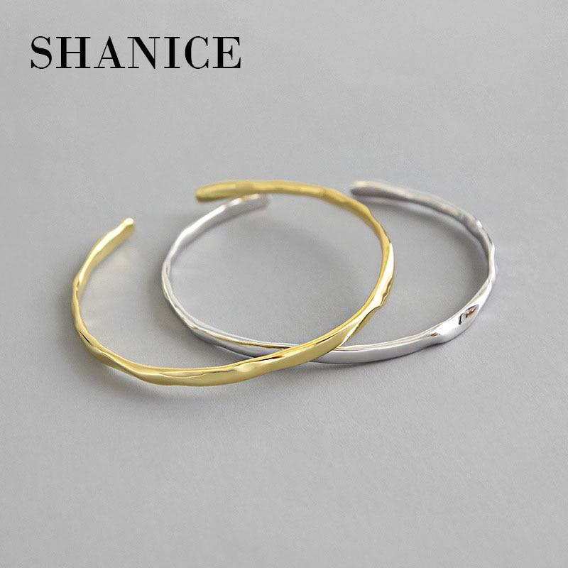 Shanice authentic 925 prata esterlina ins simples irregular côncavo suave bracelete aberto pulseiras rolhas pulseiras femininas