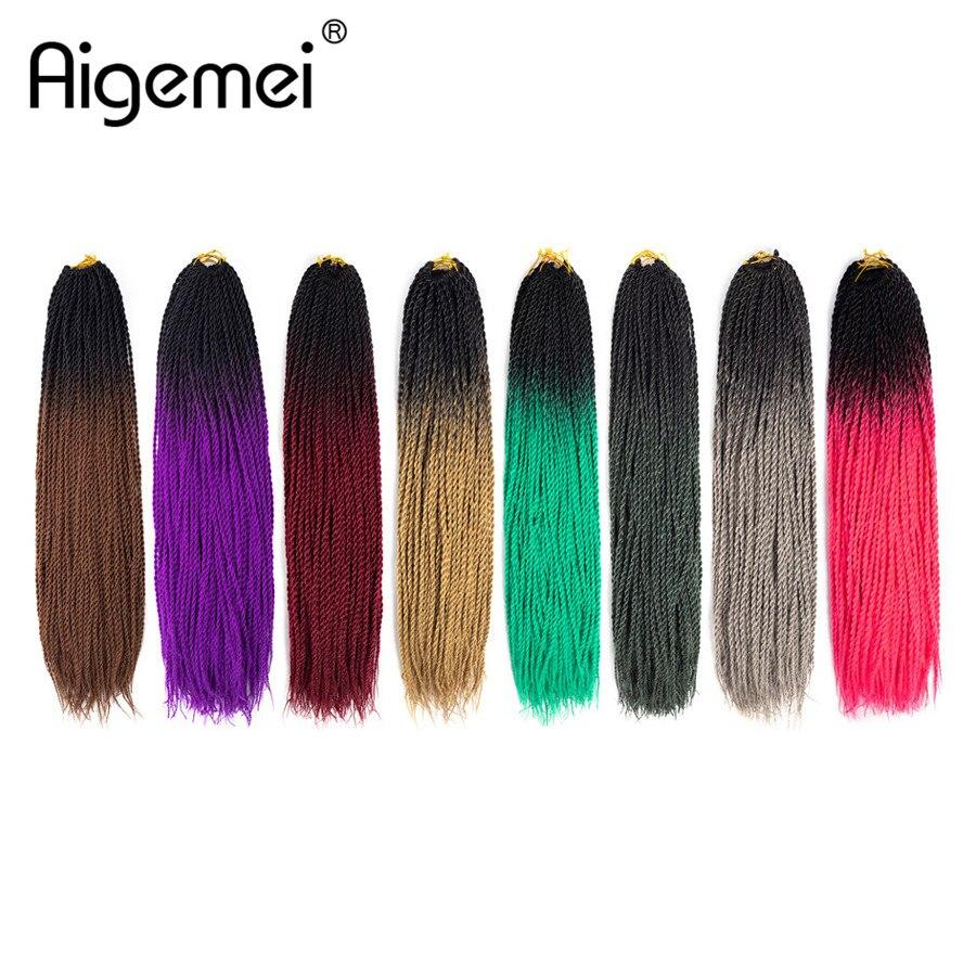 Senegalese Twist Crochet Braids Synthetic Braiding Hair High Temperature Heat Resistant Fiber Crochet Hair Extensions 40 Roots