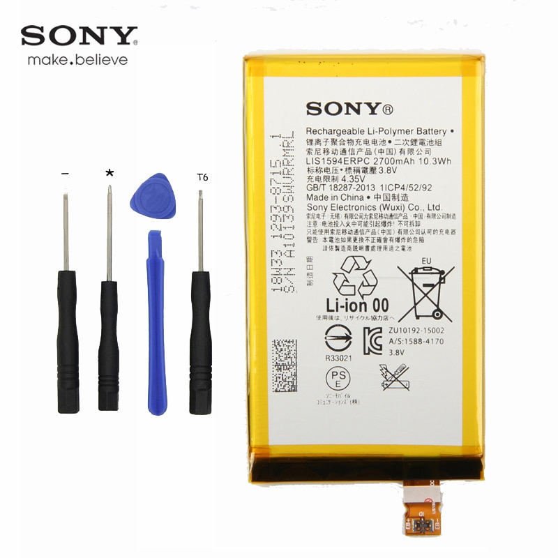 Oryginalny Sony LIS1594ERPC bateria do Sony Xperia Z5mini XA Ultra C6 F3216 F3215 F3216Xc Xmini F5321 Z5C Z5 compact 2700mAh