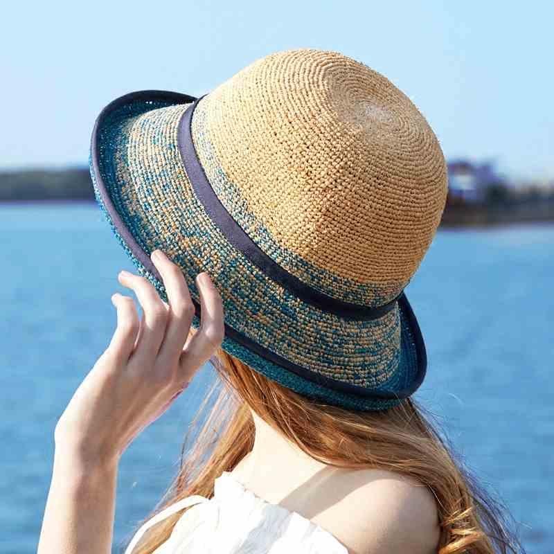 Damas bien rafia Crochet Cloche con cinta sombrero de playa sombrero de sol S10-4130
