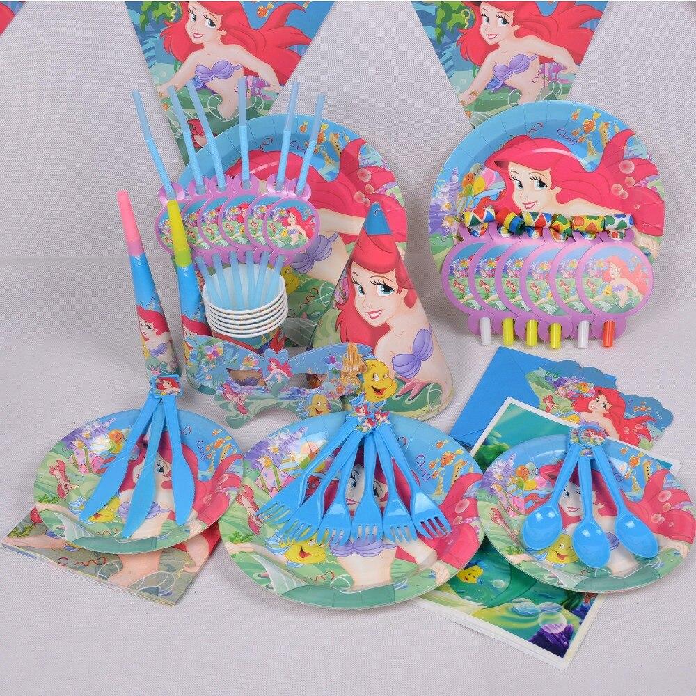 90 pçs/set luxo crianças festa de aniversário decoração conjunto sereia ariel tema suprimentos festa de aniversário do bebê pacote copos toalha de mesa