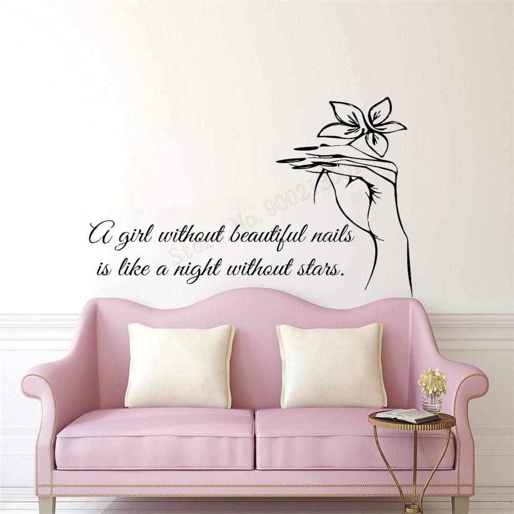 Art Salon Sticker Nails Room Decorative Quotes  Wall Sticker Removeable Decor Baeaty Salon Girls Women Decal Mural Flowers LY53