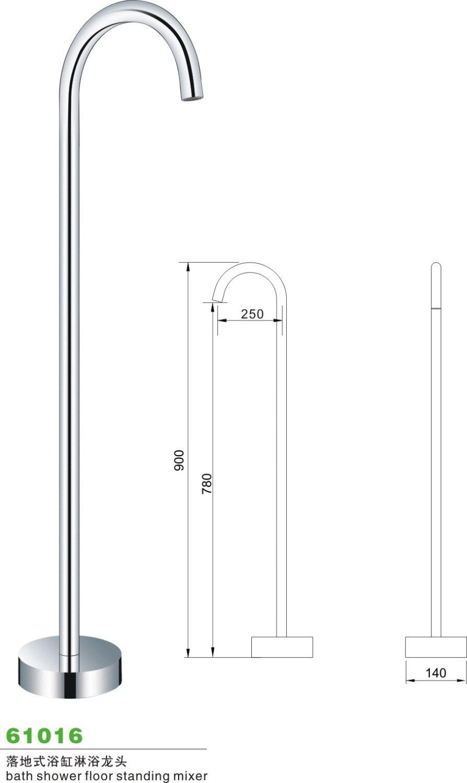 Bathroom Chrome Floor Standing tub Filter Freestanding Mount Bath tub Mixer Tap Faucet Handle free   W6032530