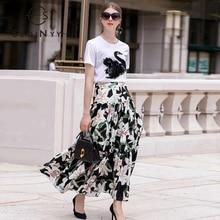 SEQINYY femmes ensemble 2020 été nouveau Design de mode broderie cygne cristal blanc coton t-shirt + romantique Lily fleur imprimer jupe