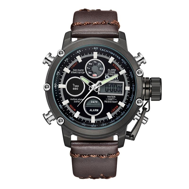 Oulm 3811, reloj de marca militar para hombre, reloj de doble pantalla para hombre, reloj Digital de cuarzo de lujo deportivo impermeable de cuero genuino