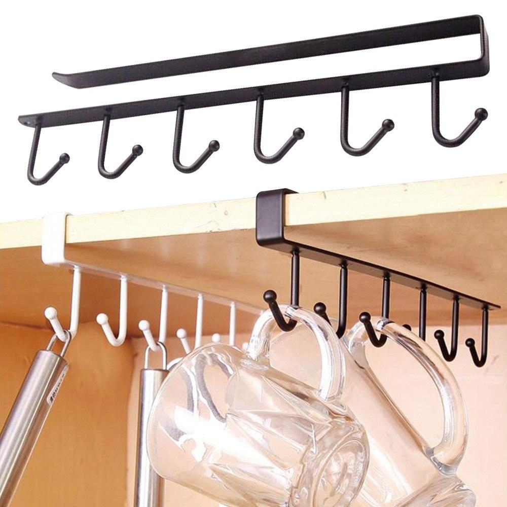 1Pc estante de almacenaje de hierro para cocina colgando de ganchos Copa cocina plato estante organizador para accesorios de baño 6 ganchos taza de soportes