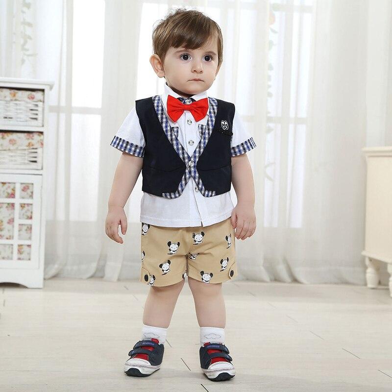 Trajes de bautismo para niños Caballero bebé niño ropa Formal traje niños trajes de fiesta conjuntos de camisa de marca con corbata