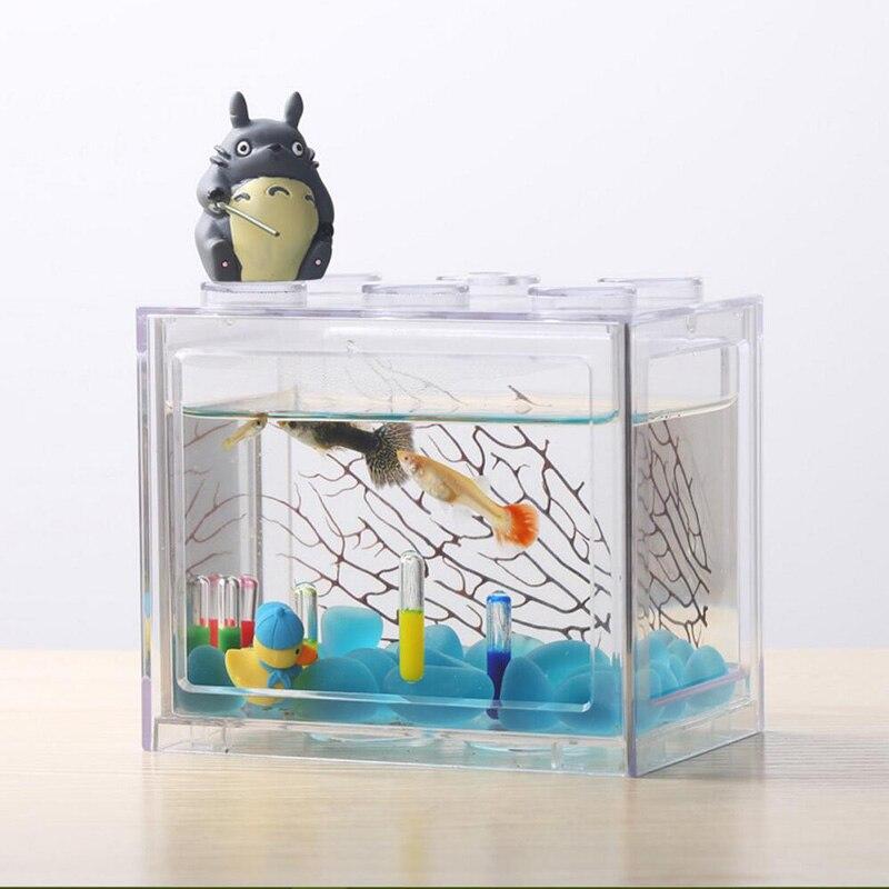 Desktop Mini Fish Tank Freedom Assembly Building Block Aquarium Fish Bowl Acrylic Water Tank Betta fish Decoration Accessories