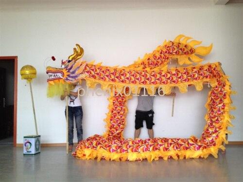 10 متر طول حجم 3 طباعة الحرير النسيج الأصفر الصينية التنين الرقص الأصلي التنين الصينية مهرجان الشعبية الاحتفال زي