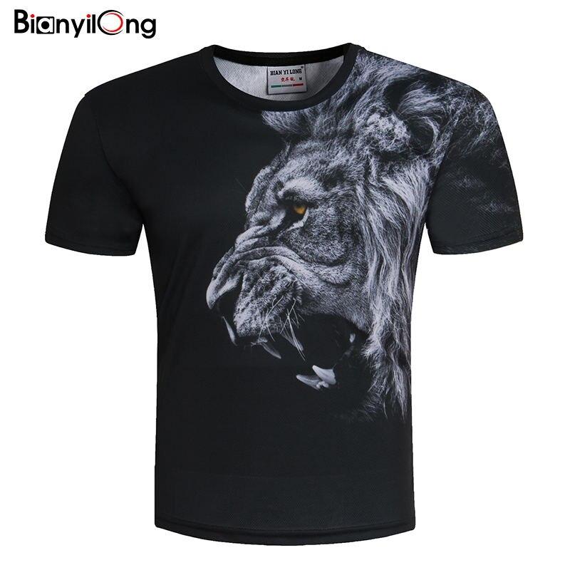 Мужская/женская футболка bianyilongl, летняя футболка с 3d принтом льва, большие размеры, M-5XL