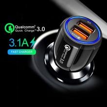 Kerokuru 3.1A QC3.0 Autolader Quick Lading Mobiele Telefoon Oplader Dual USB voor Huawei Xiaomi Samsung 2 Port USB Snelle autolader
