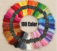 100 couleur fil à coudre et tissu bricolage broderie à la main fil polyester ensemble en gros FG272