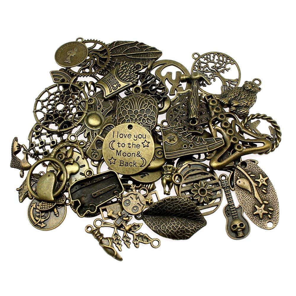 100Gram Vintage Antique Bronze Color Mix Styles Random Mix Skull Key Anchor Cross Heart Gear Charms Pendant Jewelry Accessories