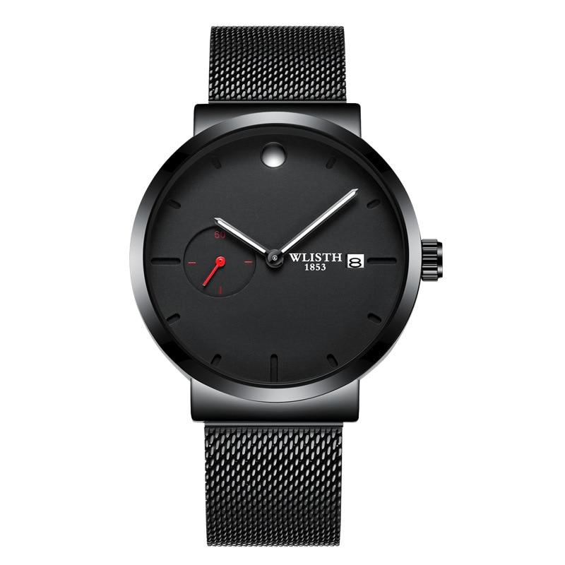 Relojes simples de moda de lujo para hombre, correa de malla de acero inoxidable, reloj de esfera de 40mm, reloj de cuarzo informal para hombre, caja de reloj de Fecha