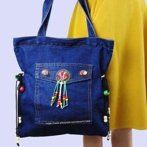 Vintage Hmong Denim Bohemian hobo tote bag embroidery handbags large shopping shoulder bags travel bags colorful pom charm 1002