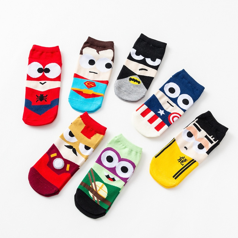 Calcetín de hombre Harajuku novedoso calcetín de dibujos animados Ninja Batman Superman Capitán América vengadores calcetín de algodón corto calcetín tobillero de corte bajo