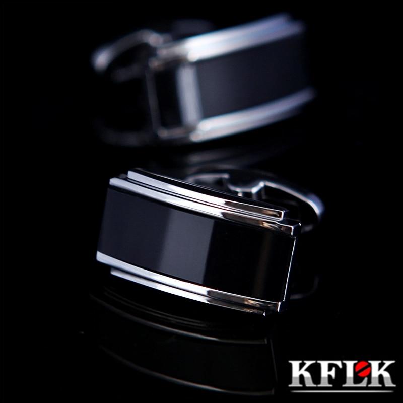 KFLK Jewelry shirt cufflink for mens designer Brand Black Cuff link french Button High Quality Luxury Wedding male guests