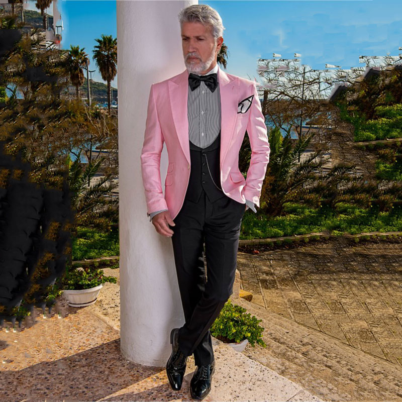 2019 Mens Casual Pink Suits Blazer Groomsmen Groom Wedding Party Tuxedos Custom Made Suits For Men B