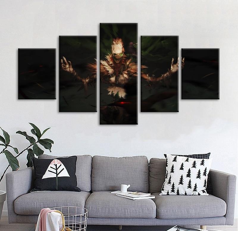 Lienzos de pintura impresos Casa Decor 5 Panel Liga de Leyendas el heraldo de la muerte Fiddlesticks de pared imagen modular artística cartel