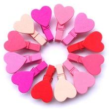 12 Uds Mini corazón amor ropa de madera foto papel Peg pinza de ropa suministros de boda Clips artesanales