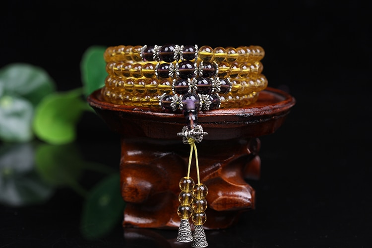 New Fashion 6mm 108pcs  Compose Citrine Beaded  Bracelet Brazic Prayer Beads Muti-Layer Rosary Mala Bracelet for Mediatation