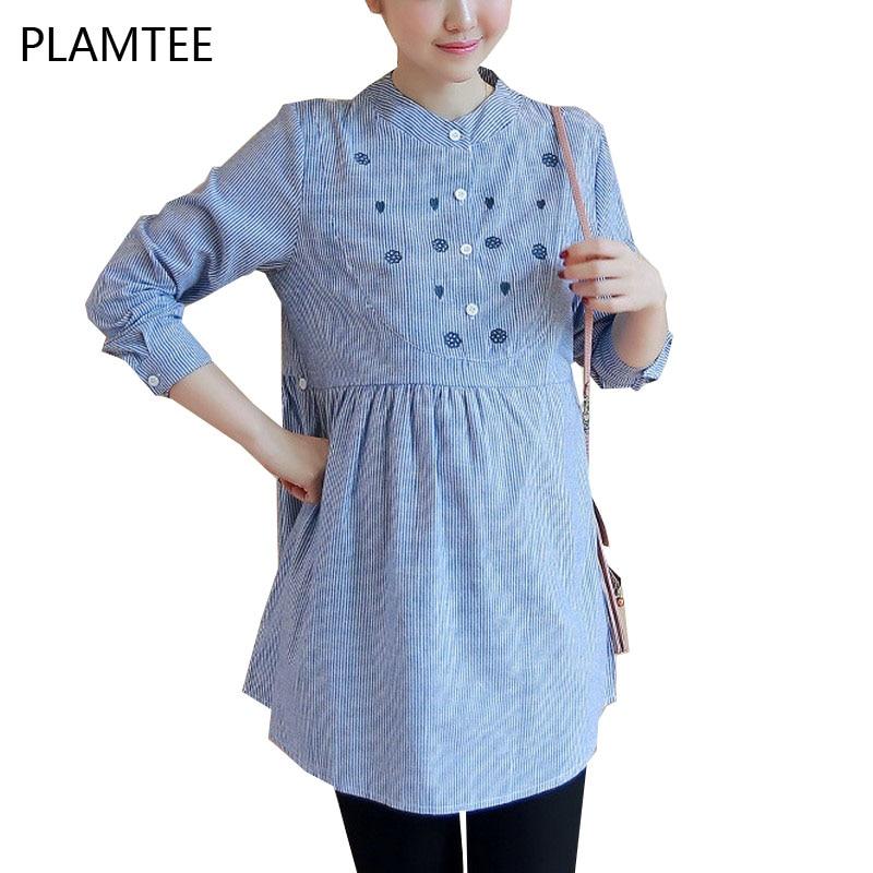 Elegante bordado gestantes camisa moda listra camisas para grávidas plus size roupas para grávidas manga longa blusa azul