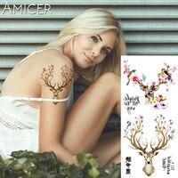 1 piece fantasy color flower deer elk hot large animal temporary tattoo waterproof tattoo sticker for women men