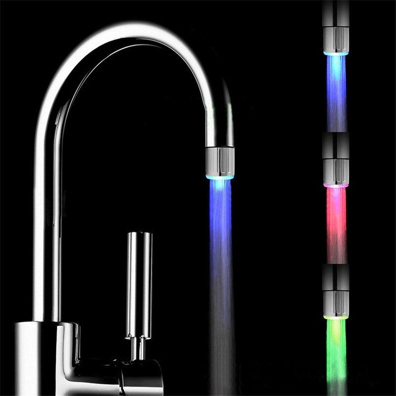 Grifo de agua de luz LED grifo Sensor de temperatura multi-Color cambiante RGB resplandor baño grifo aireador de cocina accesorios de baño