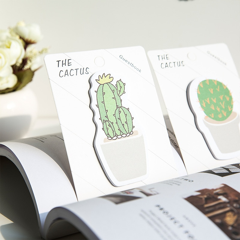 Korean creative stationery sticky cactus sticky notes this sticker notes paper n times labeled stickers creative black white cat and little carton shape sticky notes