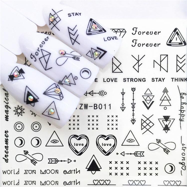 1 pcs Skull Halloween Plant Nail Sticker Water Decals Women White Flower Cat Butterfly Transfer Nail Art Decoration m2b9b