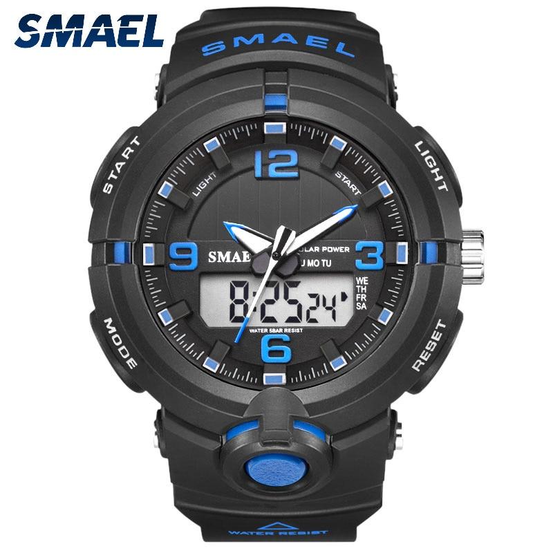 SMAEL 2019 Luxury Brand Watch Men Military Watches Sport Quartz Wristwatches Male Big Watch Led 8017 Men Watches Water Resistant