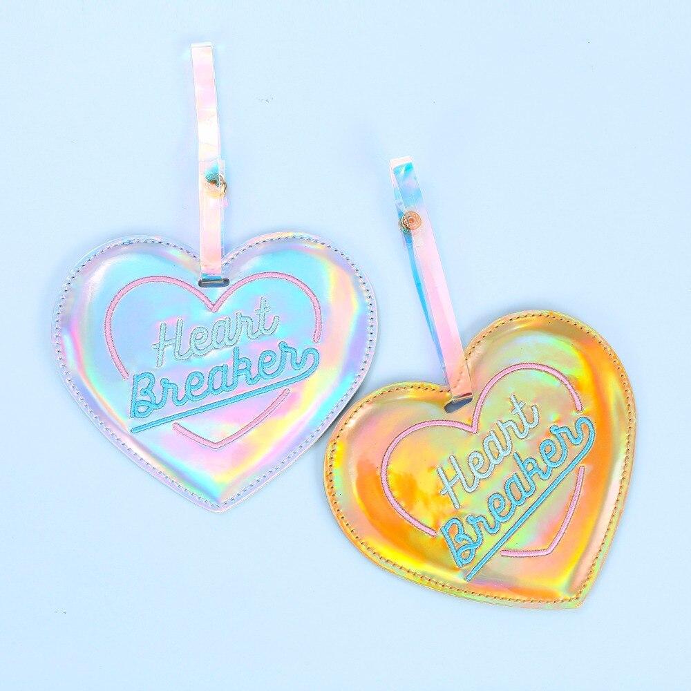 Holograma Corazón de etiqueta de equipaje de dibujos animados etiqueta de cuero correas maleta Nombre Dirección de identificación etiqueta Etiquetas de equipaje accesorio de viaje