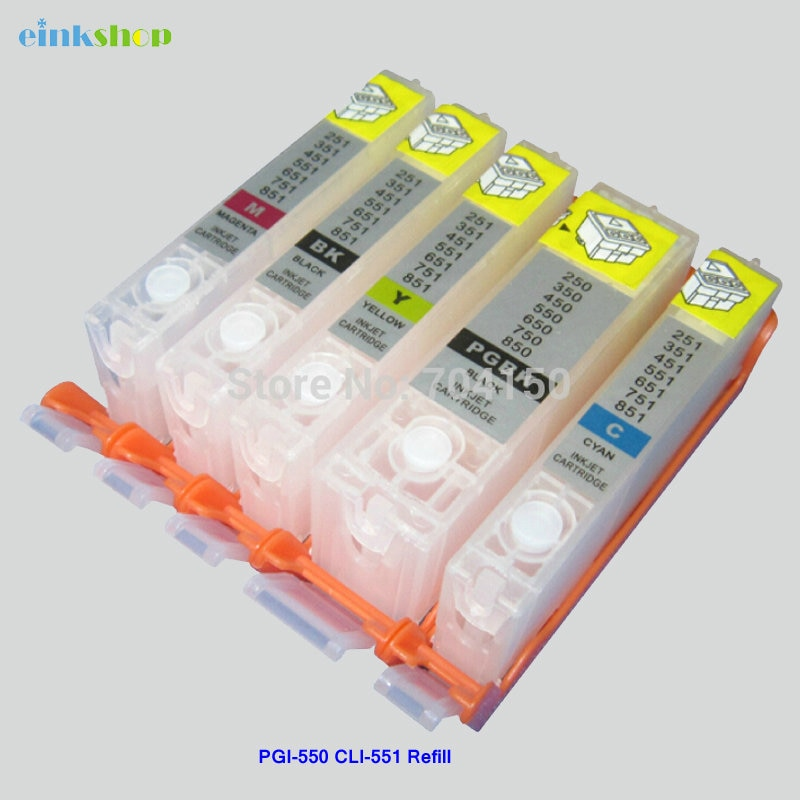Einkshop 1SET PGI-550 CLI-551 Vide Recharge Cartouche Dencre Pour Canon Pixma IP7250 MG5450 MX925 MG5550 IX6850 MX725 MX925