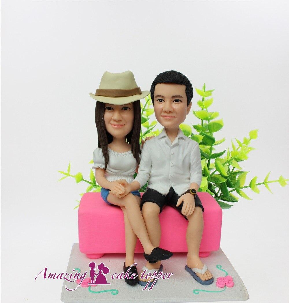 2019 increíble adorno de pastel elegante personalidad parejas juguetes personalizado arcilla polimérica figura de fotos