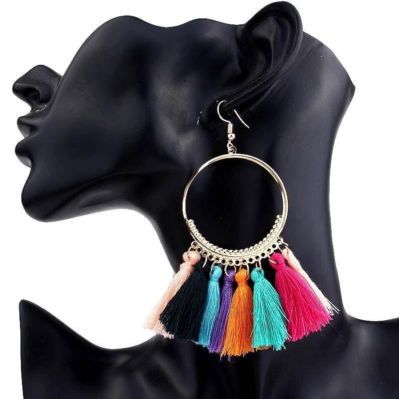 Купить с кэшбэком Boho Statement Tassel Earrings For women vintage Big Round Drop Dangle Earrings Bridal Wedding Party Fringed 2019 Jewelry Gift