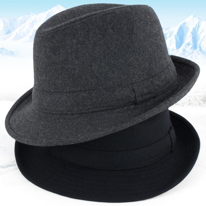 2020 Новое поступление осенне-зимние мужские шерстяные шапки для пожилых людей, мужские толстые теплые фетровые шляпы, уличные джаз шляпы