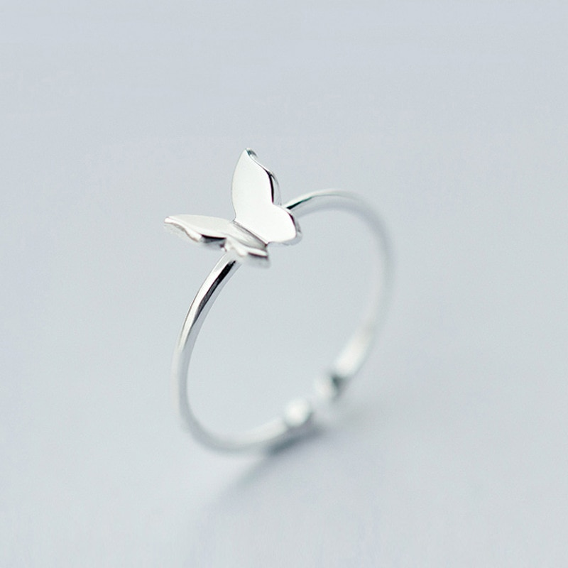 MloveAcc 100% 925 S Sterling Silver Fashion Jewelry Butterfly Cocktail Ring Sizable Girls Kids Xmas