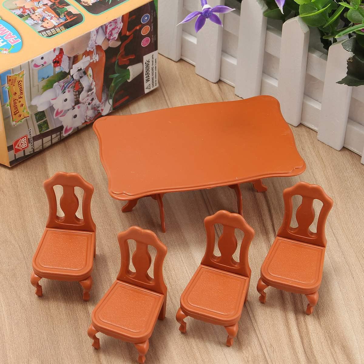 Bricolage joli Mini meubles maison de poupées Miniature Table à manger chaise ensemble enfants enfants cadeau jouets poupées maison accessoires Kits