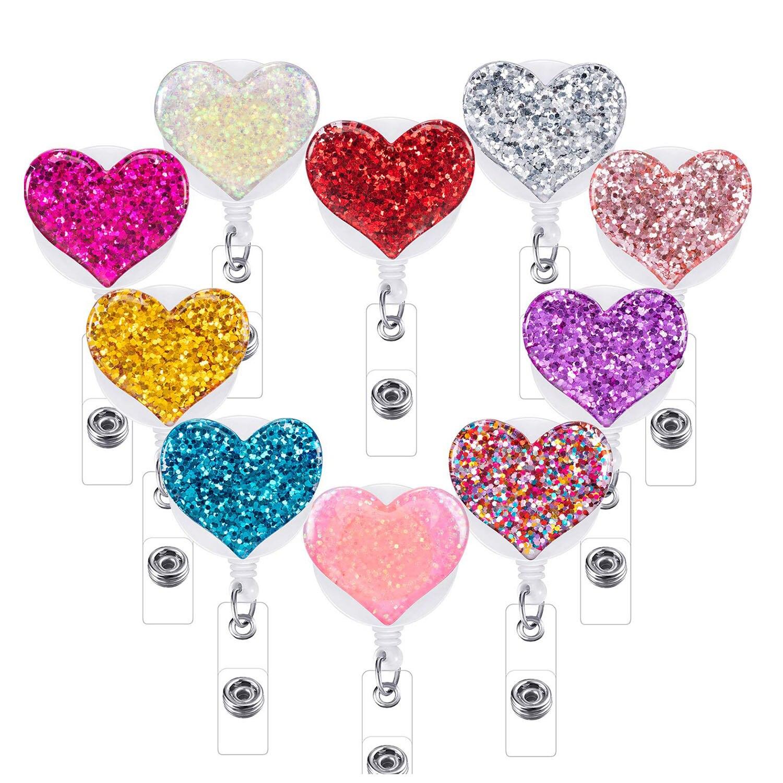 10 Pcs Retractable Badge Holder Bling Love Heart Clips ID Reel Clip on Card Holders Nurse