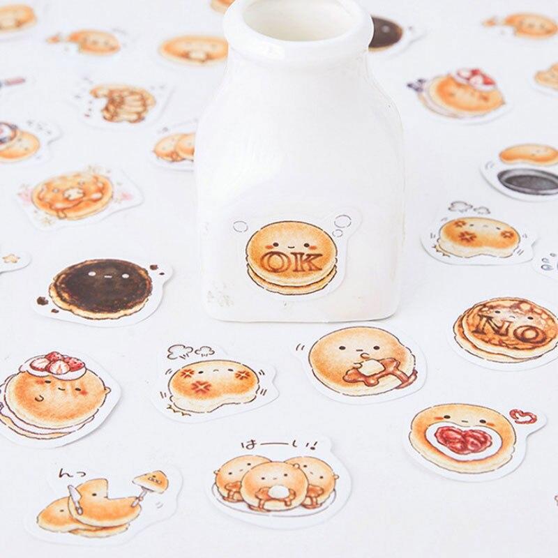 45 unids/caja pan Kawaii comida gourmet pegatina de papel para decoración DIY álbum de recortes diario pegatina niños papelería favorita