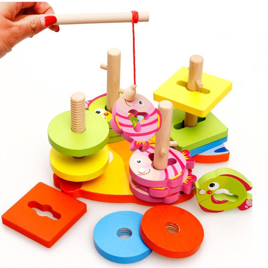 Juguetes de matemáticas de madera Montessori, juguetes educativos para niños, juego de pesca, apilador geométrico, clasificación de bebés, juguete de Aprendizaje Temprano 2018