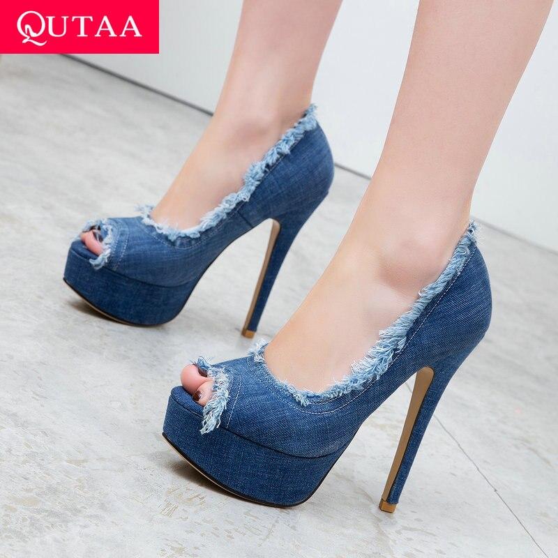 QUTAA 2020 Women Pumps Thin Super High Heel Peep Toe Denim Tassel Fashin Shoes Slip on Spring/Autumn Platform 3.5cm Size 34-43